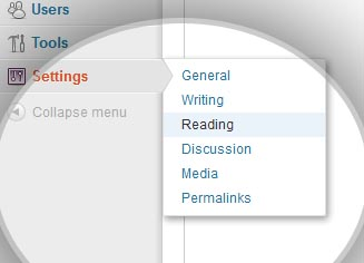setting reading wordpress