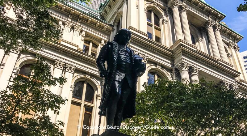 Benjamin Franklin Statue Freedom Trail Boston Discovery Guide