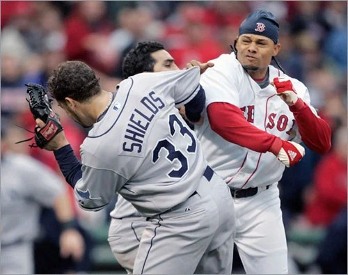 Image result for 2008 red sox rays brawl
