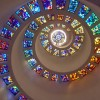 Stained glass spiral ceiling