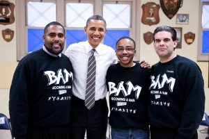 President Obama with Become a Man Teens in Chicago