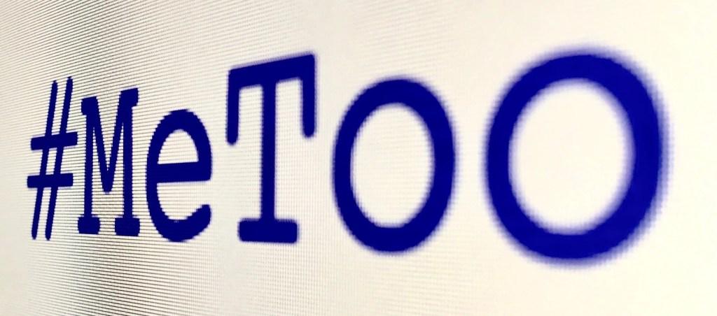 #MeToo  hash tag on screen