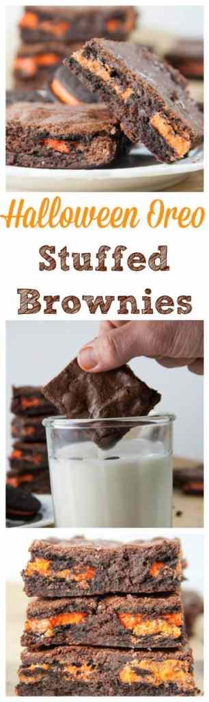 Halloween Oreo Stuffed Brownies