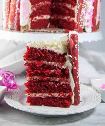 White Chocolate Red Velvet Cake