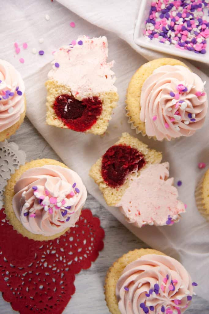 Learn how to make these heart inside cupcakes for Valentine's Day!