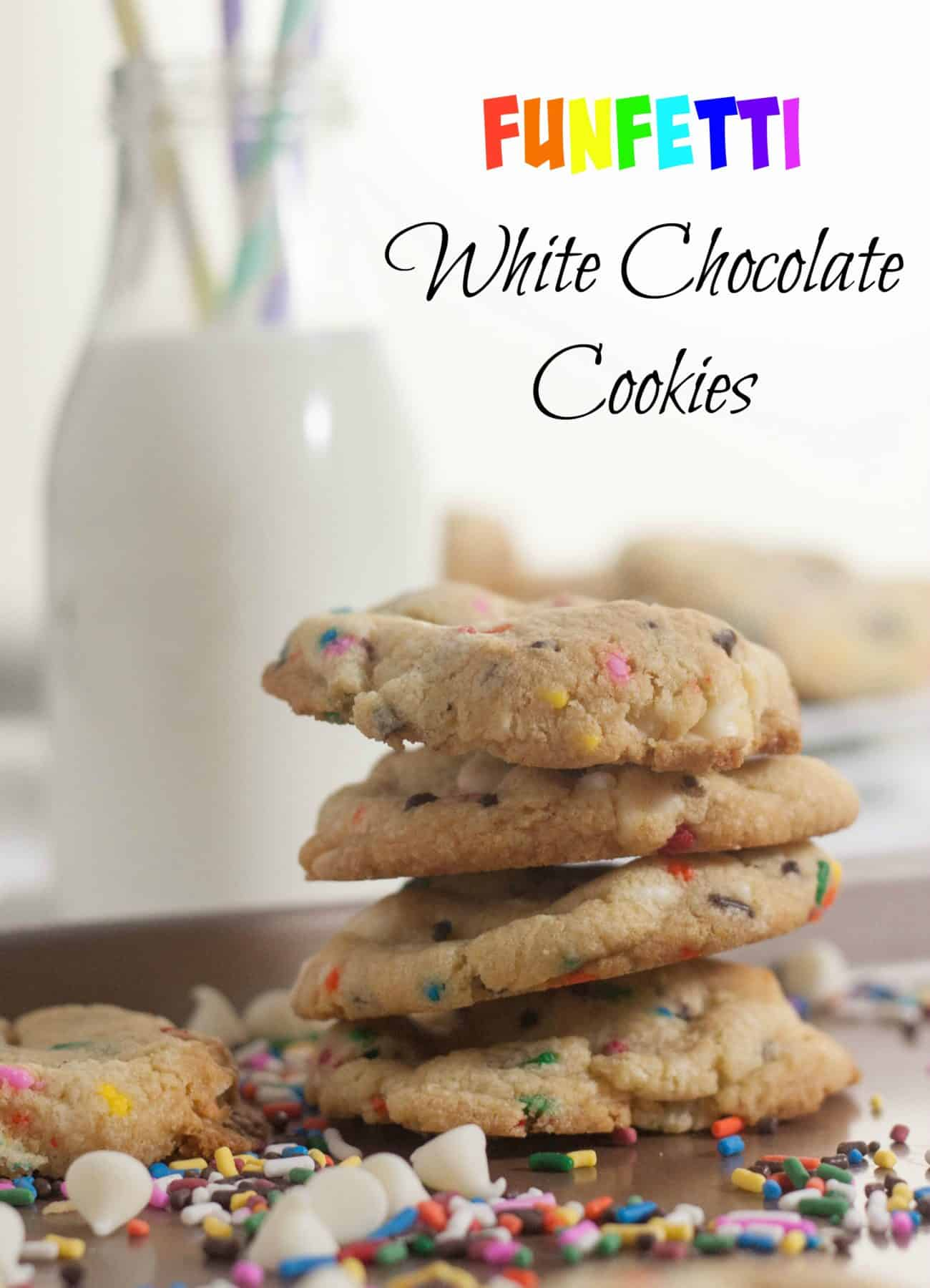 Funfetti White Chocolate Chip Cookies - Boston Girl Bakes