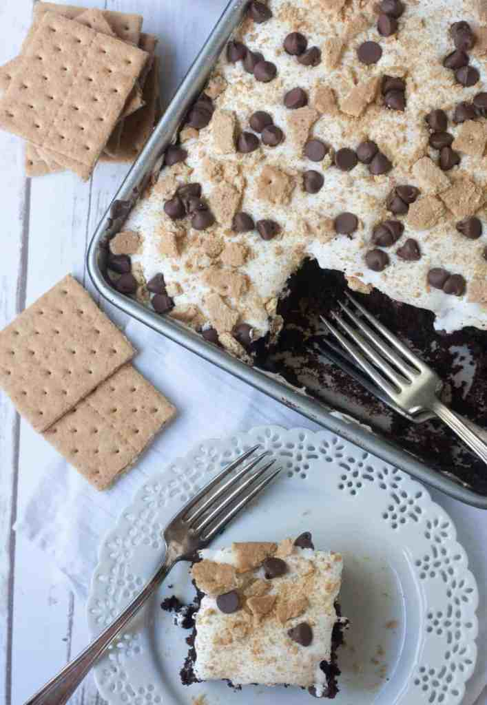 s'mores chocolate poke cake