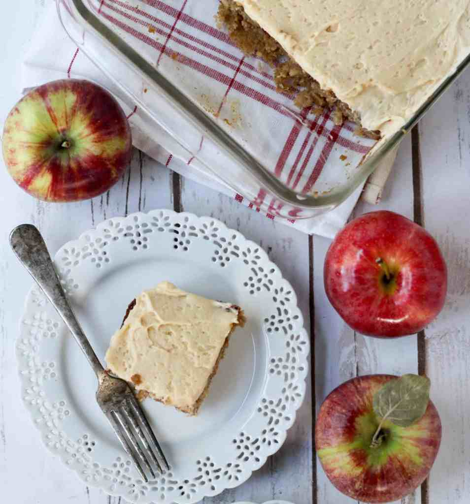 apple sheet cake with easy caramel icing