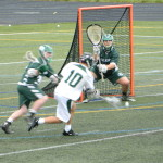 Billerica goalie Tyler Canto gets set to defend a shot from Bobby Maimaron.