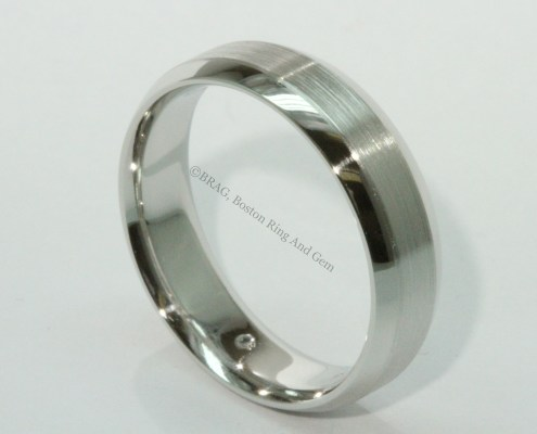 platinum bevel edge men's wedding band
