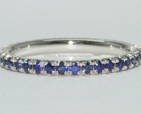 sapphire platinum eternity ring band