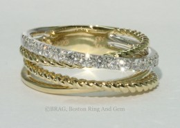 Yellow gold and diamond layered rope ring