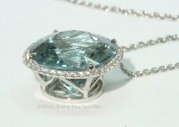 Aqua diamond halo pendant necklace