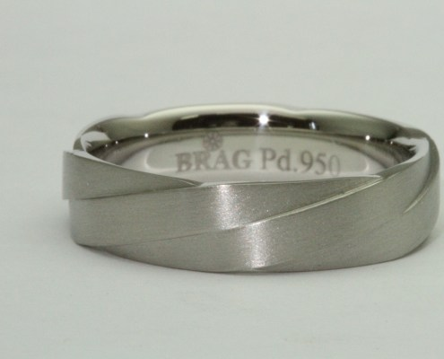 modern unique palladium twisted men's wedding band