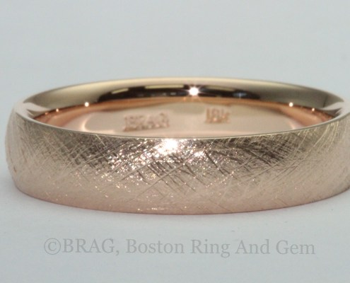 red rose gold modern unique men's wedding band