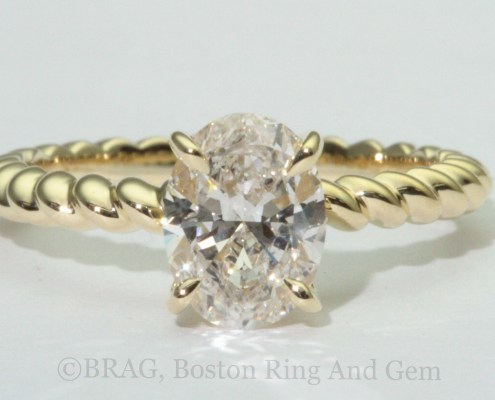 gold engagement ring diamond solitaire unique rope