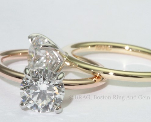 gold rose gold solitaire diamond engagement ring