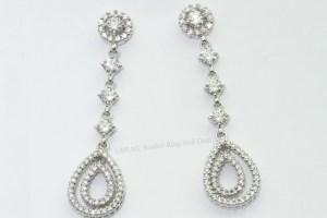 diamond drop hoop halo stud earrings