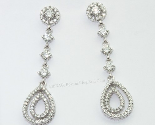 diamond drop hoop halo stud earrings