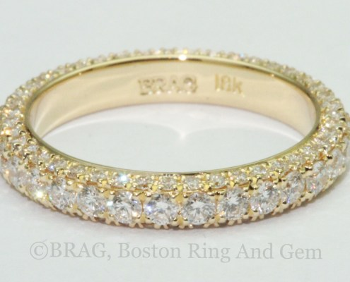 gold and diamond pave wedding ring