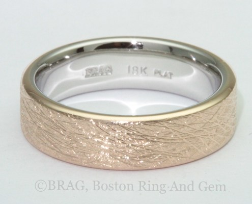 Rose gold and platinum Men's Wedding Ring