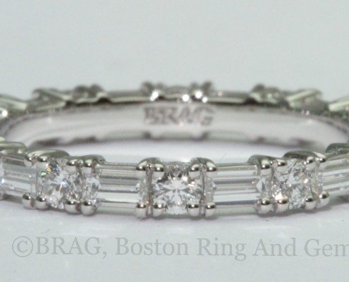 Baguette and round diamond alternating shared prong eternity wedding ring