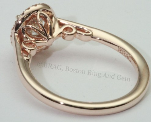 Round Rose Gold halo with filigree scroll under bezel