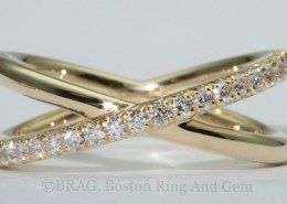 18k yellow gold with French cut set diamonds crisscross ring