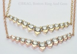 Diamond and gold V shaped Necklaces