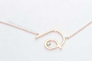initial choker necklace pendant rose gold diamond