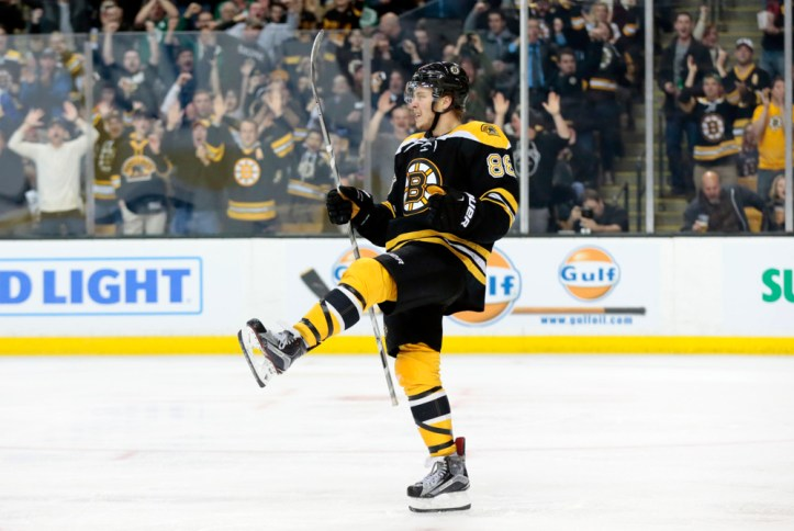 Is David Pastrnak ready to become Boston's top right winger? (Photograph by Fred Kfoury III/Icon Sportswire)