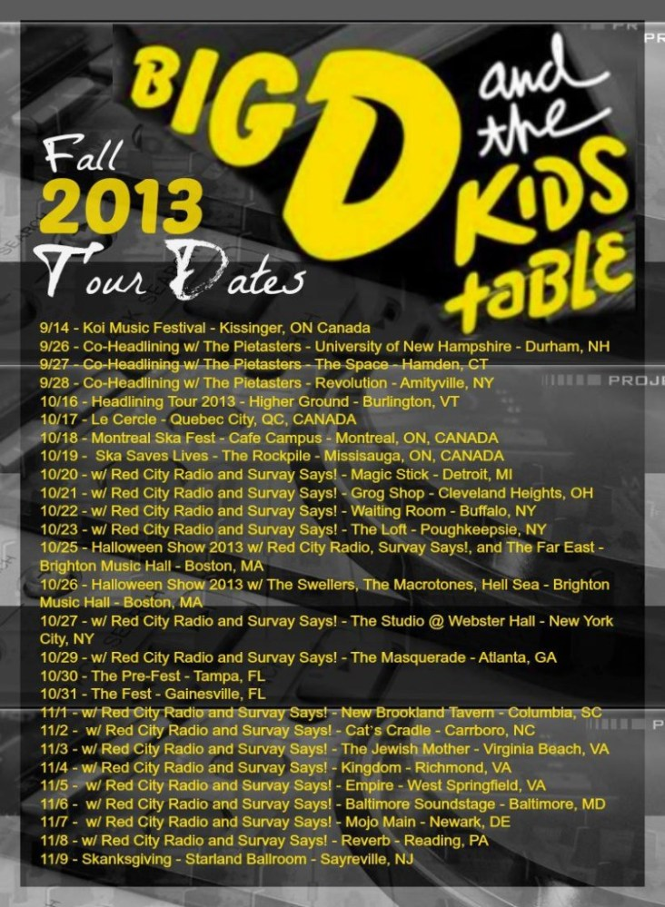 Big D & The Kids Table Announce Fall Tour; Halloween Shows at Brighton Music Hall