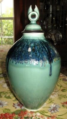 By Andrew Boswell. Wheel thrown grolleg porcelain lidded vessel.