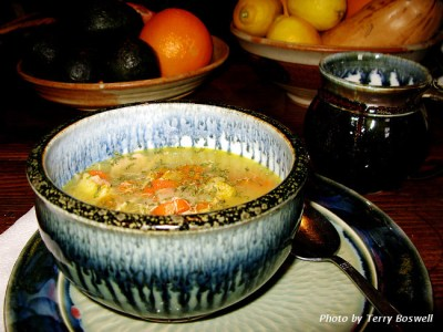 Porcelain soup bowl by Andrew Boswell glazed celedon and black.