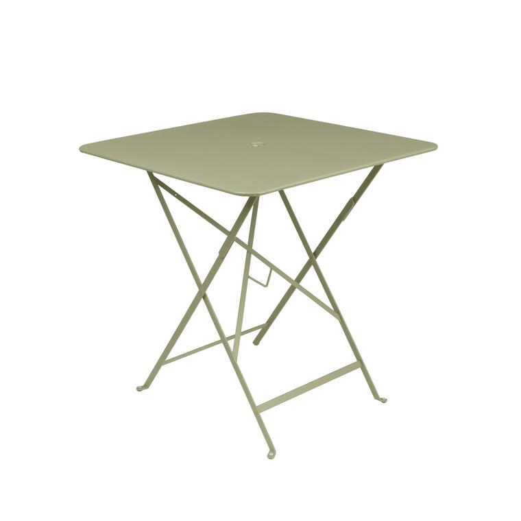 table carree pliante bistro fermob en acier coloris tilleul 71 x 71 x 74 cm