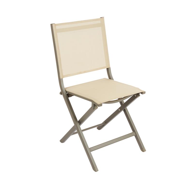 chaise pliante max en aluminium beige 90 x 45 x 52 cm