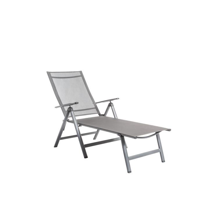 bain de soleil pliant gris en aluminium et textilene 136 x 74 x 107 cm