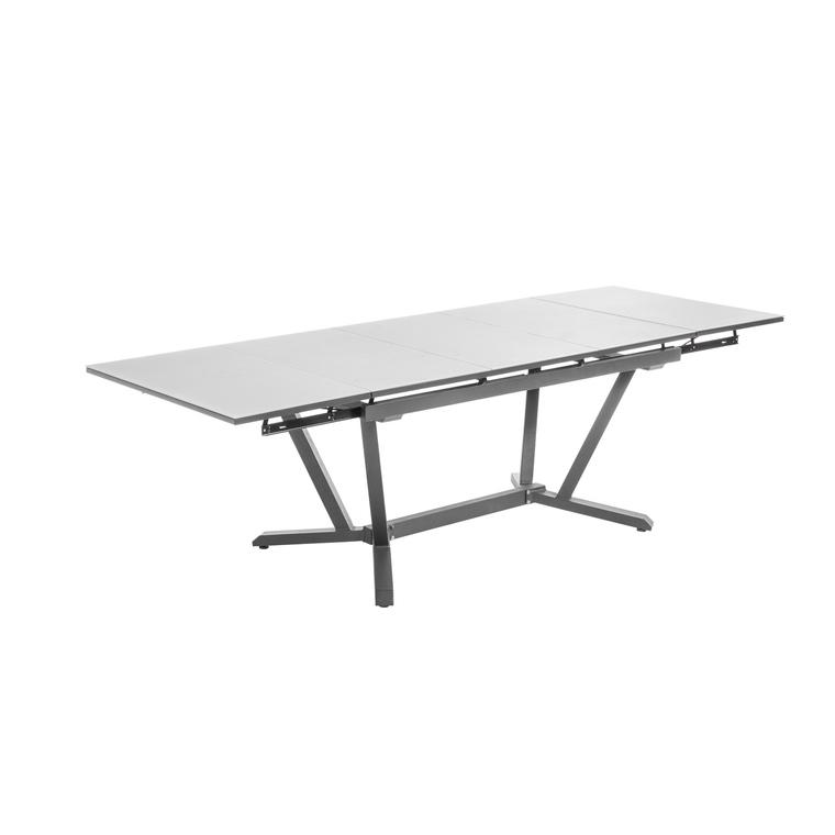 table extensible niello graphite perle alu et verre 150 250 x 90 cm