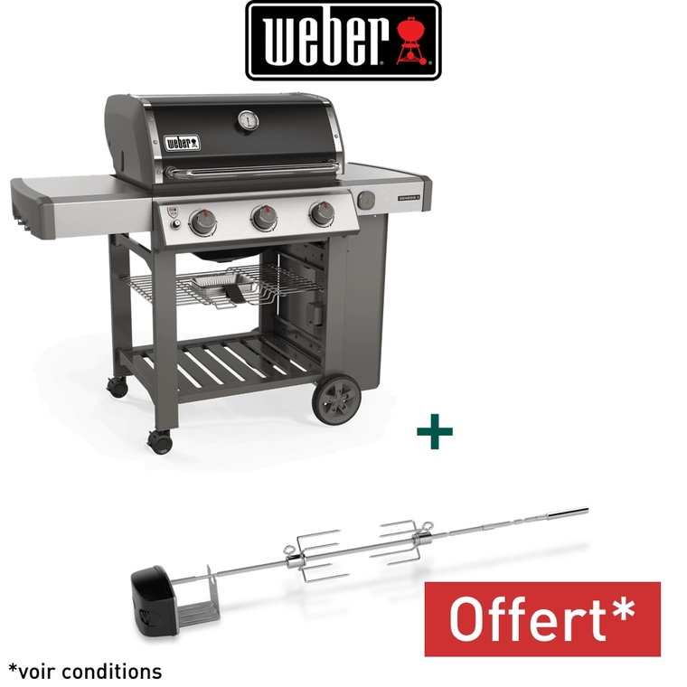 barbecue a gaz genesis ii e 310 avec plancha coloris noir