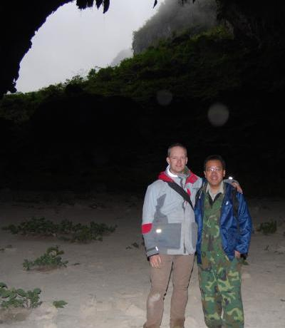 Two botanists in a cave.