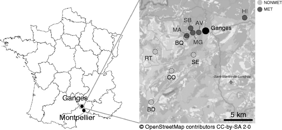 Geographical location of the ten natural populations of Noccaea caerulescens sampled in the South of France in 2012 and 2013.