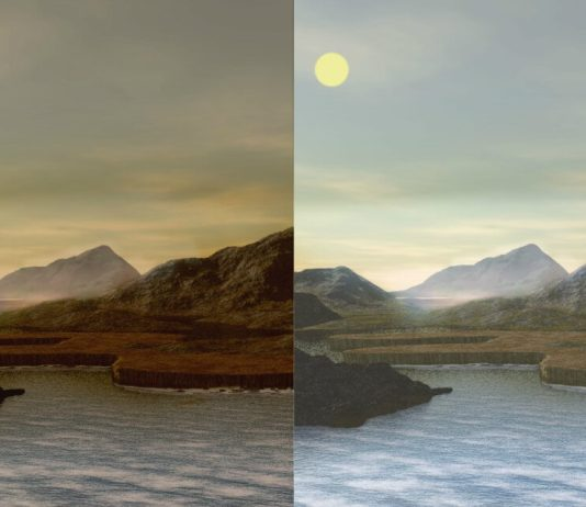Artists impressions of a habitable planet around M-dwarfs (left) and primordial Earth (right)