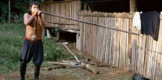 Achuar with a blowpipe in the Ecuadorian Amazon.