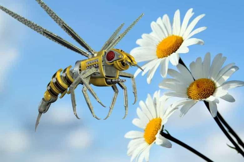 A robot wasp at a flower