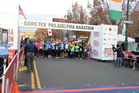 Starting line of some wave.   (c) 2014 GORE-TEX® Philadelphia Marathon