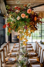 Flowers on the top table by Mad Lilies at The Barn at Botley Hill