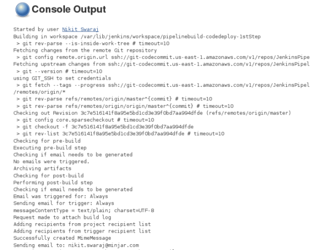 AWS CodeCommit Console Output