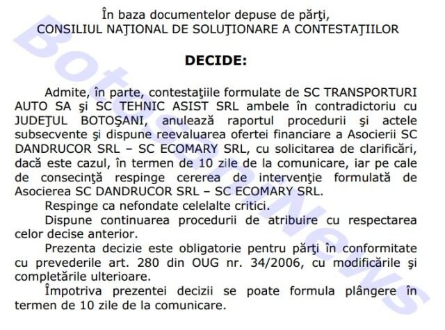decizie CNSC pentru o licitatie la Botosani