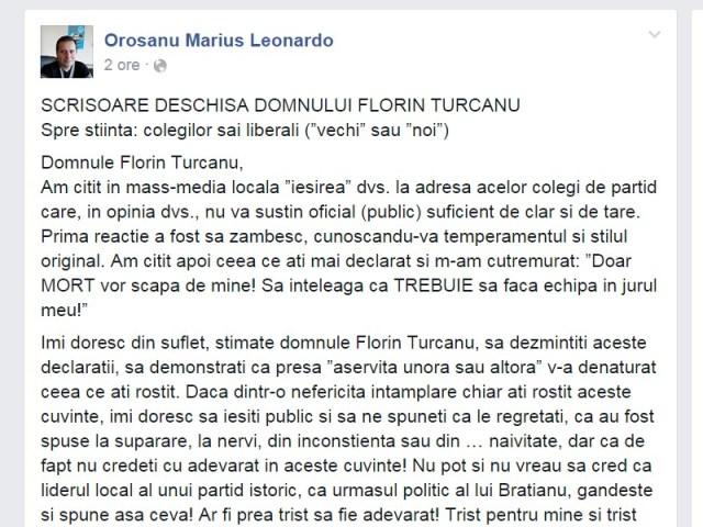scrisoare deschisa pe Facebook a lui Marius Orosanu