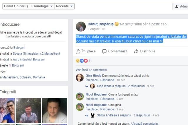 mesaj de sinucidere pe facebook- botosani